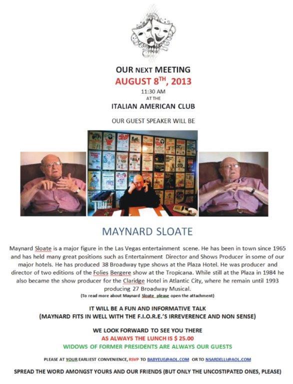 F.I.O.R.E. guest speaker, Maynard Sloate