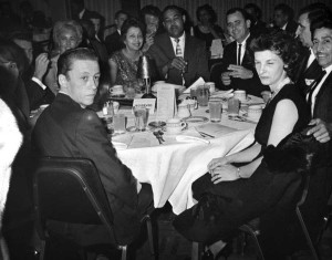 Joe Louis, Martha Louis, Norm Johnson (facing), Ramona Johnson to my left, at Boxing Hall of Fame Dinner 1961.