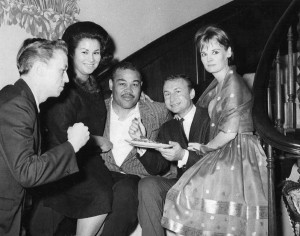 Norm Johnson, Ramona Johnson, Joe Louis, Nick Adams, and Carol Nugent Adams at Louis' Home 1962
