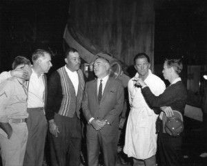 "On the set of ""The Hook,"" 1962 with Nick Adams, Director George Seagal, Joe Louis, producer Robert Wise, Kirk Douglas and Norm Johnson"