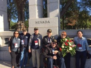 Jung Lee, Norm Johnson, Bob Chase, Blanche Bozarth, Richard Vetter, Belinda Morse, Leonard Krane, at the Nevada Memorial
