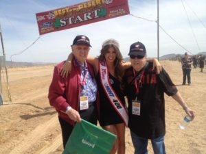 Mel Larson as Grand Marshall 2013 Mint 400, with Miss Mint 400 and Norm Johnson