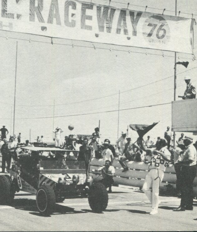 Fred Sikorski and Norm Johnson (co-driver) leave starting line in 1968 event in Burro. Race was held at Stardust raceway in Las Vegas and covered 711 miles of open desert. It was held only once by NORRA and replaced by Baja 500 in 1969.