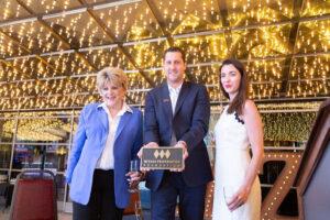 The Plaza's CEO Jonathan Jossel accepts NPF's venerable bronze plaque from Mayor Carolyn G. Goodman and NPF Executive Director Cynthia Ammerman
